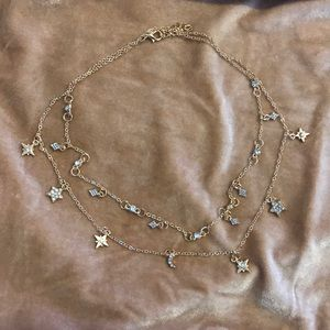 Moon & star rhinestone charm layer necklace ⭐️